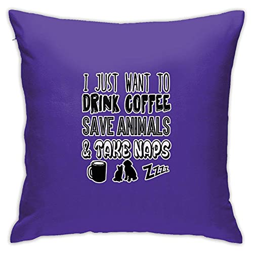 SKGQZD Funda de Almohada Cuadrada I Just Want to Drink Coffee, Save Animals, and Take Naps Throw Pillow Cover Soft Poliéster Decoración para el hogar para el sofá de la Sala de Estar 45x45cm