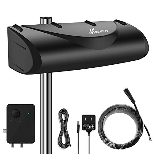 Outdoor TV Antenna 150 Miles 28dB High Gain Amplified Omnidirectional Signal Booster, Support UHF/VHF Hardware with 33ft Coax Cable (Antenna Mount Excluded)