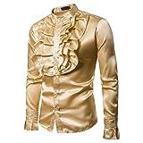 Yvelands Hombres Camisa de Seda Slim Fit de los Hombres Camiseta cómoda Top Blusa Dance Concert Party Fiesta de Navidad Cosplay de Halloween Nuevo