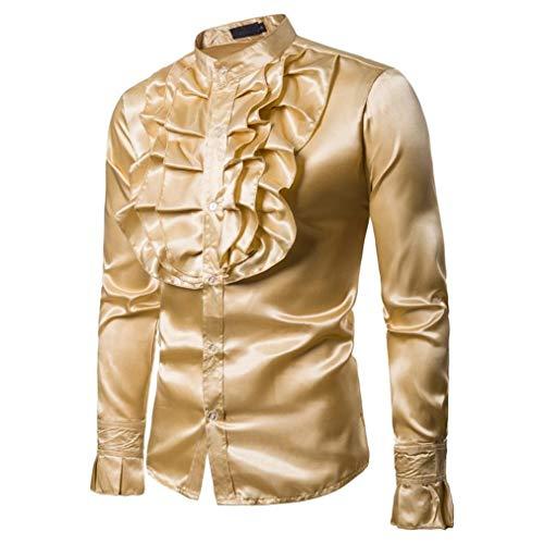 Yvelands Hombres Camisa de Seda Slim Fit de los Hombres Camiseta cmoda Top Blusa Dance Concert Party Fiesta de Navidad Cosplay de Halloween Nuevo