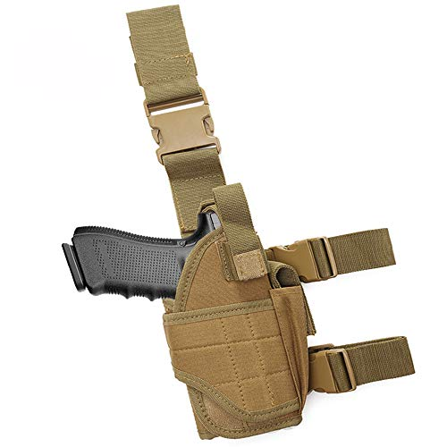 Tactical Drop Leg Holster with Magazine Pocket, Thigh Pistol Gun Holster, Right Hand Adjustable (Brown)