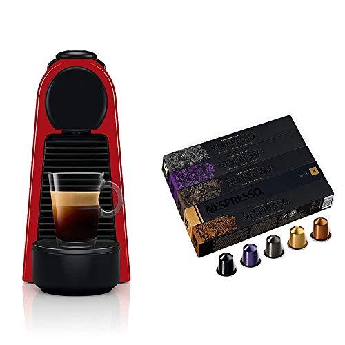 Cafeteira Nespresso Essenza Mini Vermelha 110V + 50 Cápsulas de Café Variado