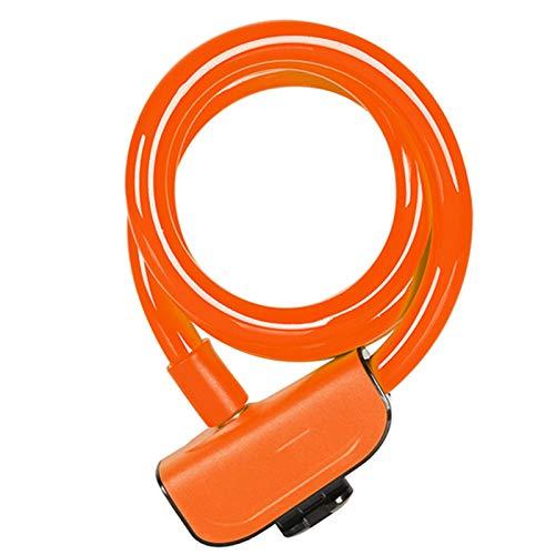 鍵鋼線のセキュリティバイクアクセサリー1.2m自転車のロック付き自転車ケーブルロック屋外サイクリング盗難防止ロック (Color : Orange)