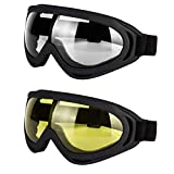 LJDJ Motorcycle Goggles - Glasses Set of 2 Yellow Clear Lenses Dirt Bike ATV Motocross Anti-UV Adjustable Riding Off Road Racing Protective Combat Tactical Military Goggles