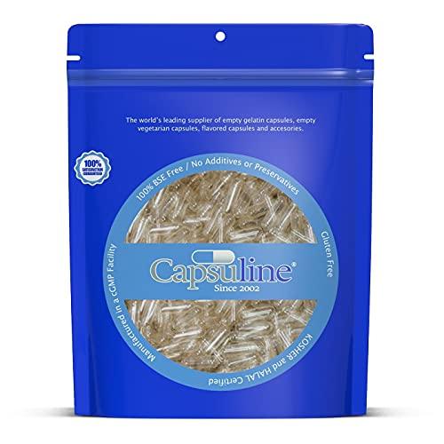 Cápsulas de Gelatina Vacías Transparentes Tamaño 00 de Capsuline - 1000 Unidades