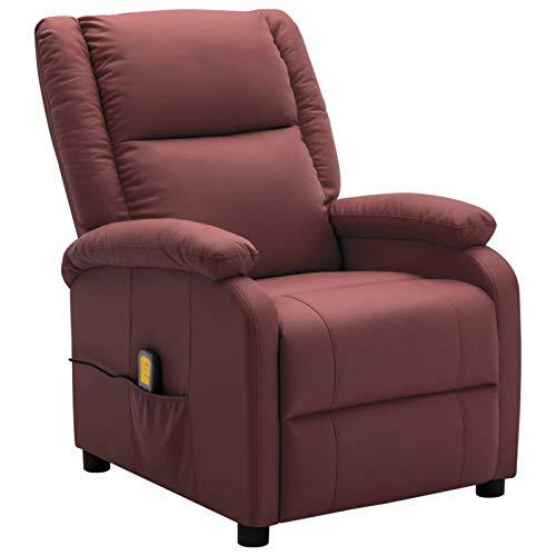Irfora Massagesessel Elektrisch Fernsehsessel TV Sessel Relaxliege Liegesessel Relaxsessel Ruhesessel Braun/Weinrot Kunstleder Massage und Heizung