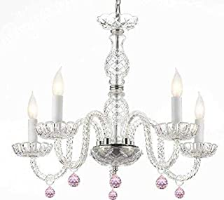MURANO VENETIAN STYLE CHANDELIER LIGHTING WITH PINK CRYSTAL BALLS! H 25