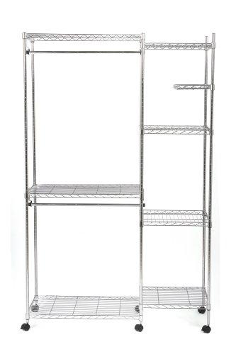 Seville Classics Garderoben System mit Textilhülle Sistema de Perchero, Acero, Plata, 119 x 45.7 x 182.8 cm