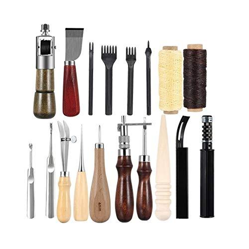 HEQIE-YONGP Leder Werkzeuge 18 PC Leder Nähen Werkzeuge Fertigkeit DIY Hand Stitching Ahle Gewachste Fingerhut Leinwand Leder Craft Lhipping
