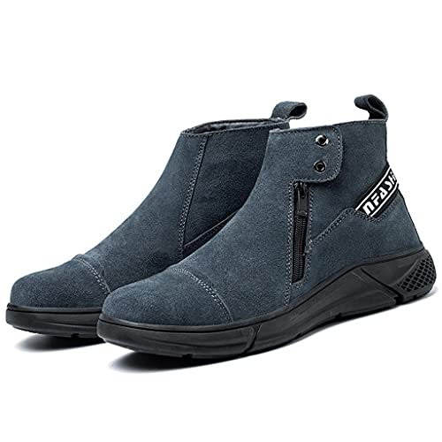 Zapatos de Trabajo Hombres Soldadura Soldador Botas de Seguridad Steería Toe Cap al Aire Libre Casual Trabajo Zapatos De Moda Lateral Cremallera Sin Deslizamiento Zapatillas Industriales Calzado