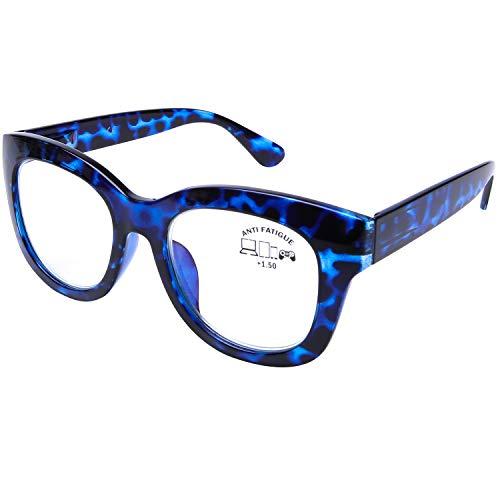 DOOViC Occhiali da Lettura Luce Blu +3.0 Grandi Rotondi Blu Tartaruga con Montatura Occhiali da Computer per Uomo/Donna