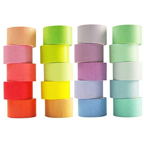VIVIQUEN 和紙テープセット 色付きマスキングテープパック 装飾用薄いテープ 子供やギフトに 歪み 1インチ 25mm