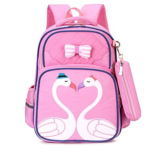 mochilas escolares para niños Niños niñas escuela primaria, 8-12 años 1-3-5 clase Estudiantes impermeables Campus bolsa de viaje femenina mochila de dibujos animados Con (Pink,DL)