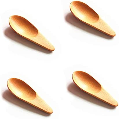 NUOMI 4 Pack Wooden Scooper Solid Wood Spoon Mini Salt Scoop with Short Handle for Loose Tea product image