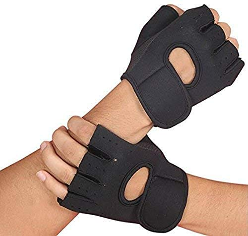 leosportz Unisex Weight Lifting Gloves for Gym Workout, CrossFit, Fitness & Cross Training, Free Size (Black)