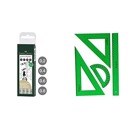 Faber Castell 167004 - Estuche con 4 rotuladores calibrados ECCO Pigment con grosores de trazo + 65021 - Pack escolar con escuadra, cartabón, regla y semicírculo, color verde