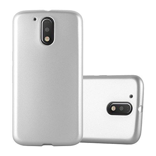 Cadorabo Hülle für Motorola Moto G4 / Moto G4 Plus - Hülle in METALLIC Silber – Handyhülle aus TPU Silikon im Matt Metallic Design - Silikonhülle Schutzhülle Ultra Slim Soft Back Cover Case Bumper