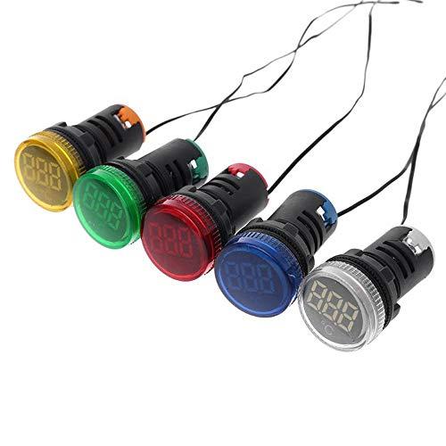 Condensadores 22mm AC 50-380V Indicador de termómetro de la luz Blanca LED Digital Display medición de la Temperatura de inducción Van Desde -20 hasta 199 □ (3pcs)