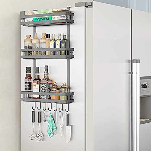 YYDSJFM Organizador de especias para nevera, estante lateral para nevera, estante para frigorífico, instalación sin marcas, ahorro de espacio para apartamentos pequeños de cocina (negro)