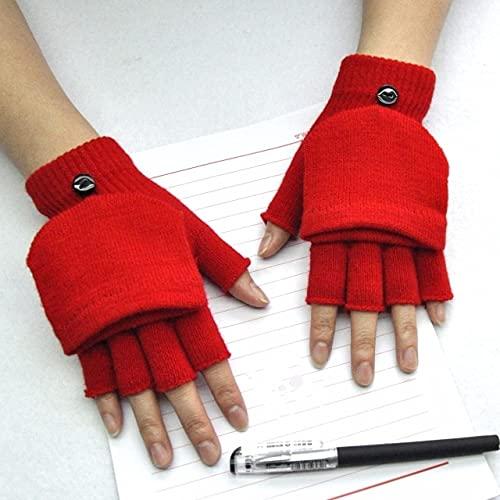 Guantes Gruesos cálidos de Invierno de Punto, Guantes Gruesos sin Dedos Expuestos, Guantes Gruesos sin Dedos, Guantes para Mujer-B-Red-One Size