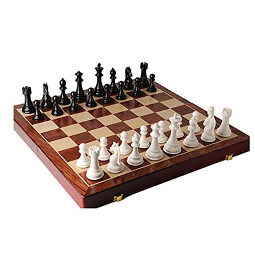 ZWDM Ajedrez De Madera -Juego De Mesa Chess Set Ajedrez De Viaje Plegable Ideal para Niños Y Adultos, Juegos Al Aire Libre O Regalos (Color : White, Size : 52X52cm)