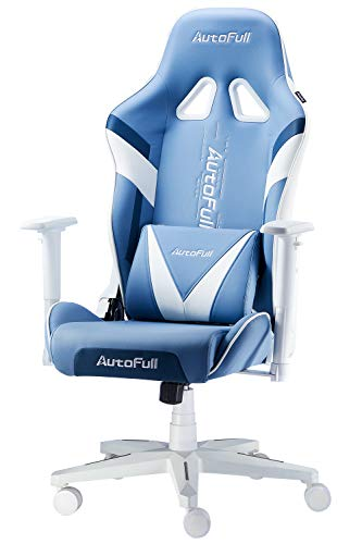 AutoFull Gaming Chair Racing Office Ergonomic High-Back Computer Chair PU Leather Desk Chair with Headrest and Lumbar Support E-Sports Swivel Chair, Blue