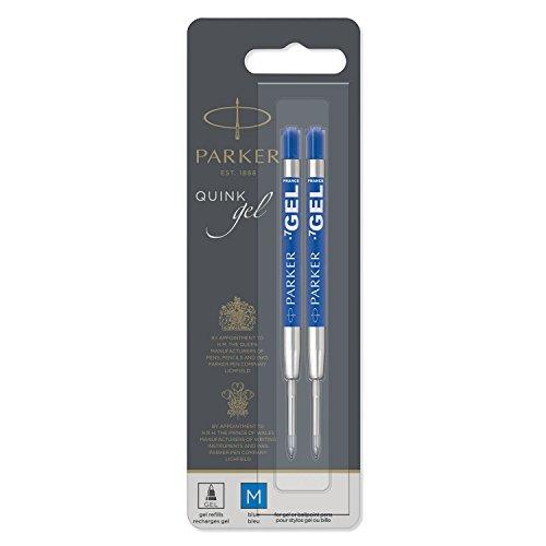 Parker recambio para bolígrafo de tinta de gel y punta mediana, azul, paquete de 2