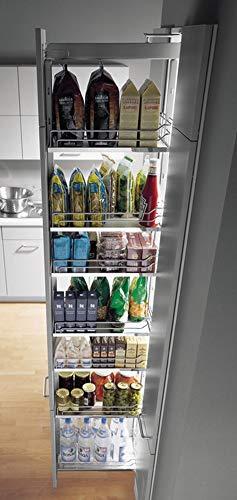 Hochschrank-Auszug Vollauszug Apotheker-Hochschrank mit 5 Einhängeböden | Frontauszug für Korpusbreite 300 mm | Korpushöhe 1900-2300 mm | Apothekerauszug mit Dämpfung | 1 Komplett-Set für die Küche