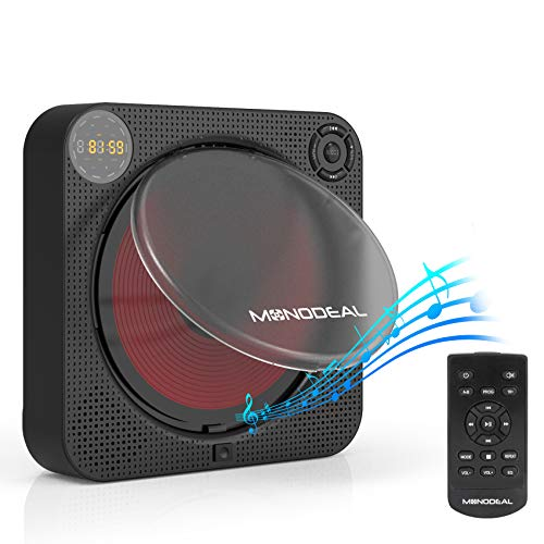 CD Player with Bluetooth, MONODEAL Portable Rechargeable CD Player with Built-in Speakers, Wall CD Player for Home, CD Player for Car and Outdoors (with Remote Control and Built-in FM Radio)