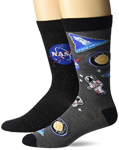 SAN Herren NASA 2 Pack Crew Legere Socken, Schwarz multi, Einheitsgröße
