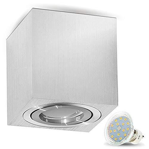 JVS Aufbauleuchte Aufbaustrahler Deckenleuchte Aufputz LED 4W Warm-weiß Milano GU10 Fassung 230V Eckig Alu gebürstet schwenkbar Deckenleuchte Strahler Deckenlampe Aufbau-lampe Downlight aus Aluminium