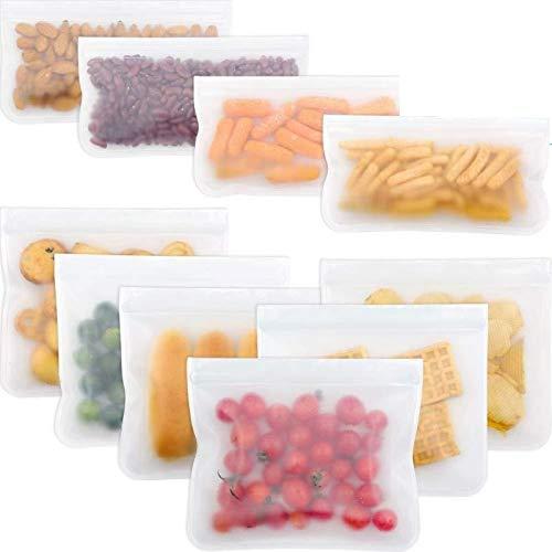 Bolsa de Silicona Reutilizables,10 unidades de bolsas para congelar, bolsas de almacenamiento de alimentos, bolsas para sándwich ,