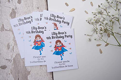 Personalised Birthday Favour Wildflower Seed Packet - Birthday Party Favour - Superhero Girl