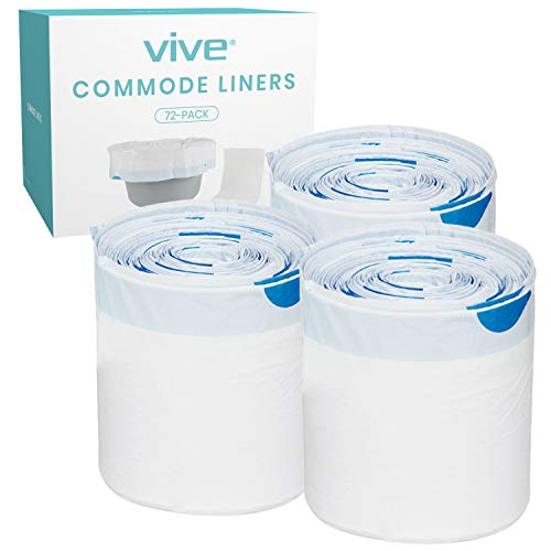Vive 72 Pack of Commode Liners with Absorbent Pad - Disposable Replacement Bag - Fits Standard Adult Bariatric Bedside Commode Pail and Folding, Portable Toilet Chair - Absorbing Sheet Aid - Universal