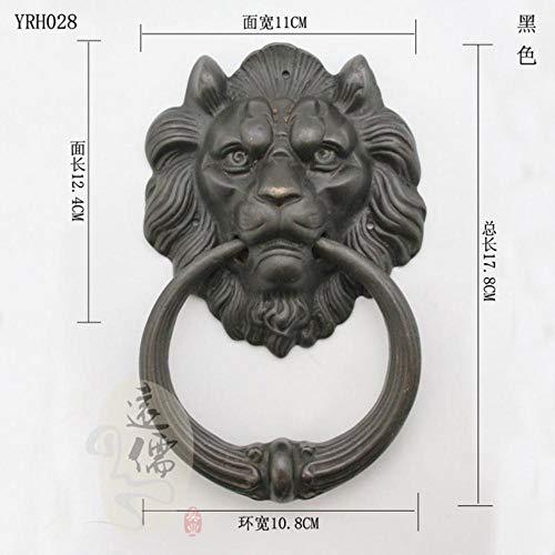 Qingsb Gran aldaba de león de latón Antiguo Aldaba de Puerta Aldaba de Cabeza de león Leones Decoración del hogar, Negro