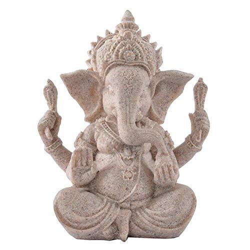 Uziqueif Ganesha Figur,Elefanten Figuren,Buddha Statue Sandstein Skulptur Elefant Statue Buddha Figur,Sandstein Ganesha Buddha Elefant Statue Skulptur Handgefertigte Figur