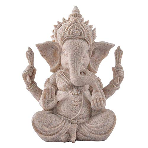 Uziqueif Ganesha Figuren Elephant Statue,Ganesha Buddha Statue Sandstein Skulptur Elefant Statue Buddha Figur,Sandstein Ganesha Buddha Elefant Statue Skulptur Handgefertigte Figur