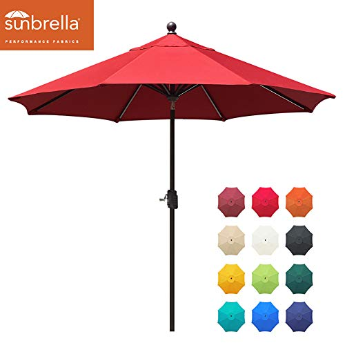 EliteShade Sunbrella 9Ft Market Umbrella Patio Outdoor Table Umbrella with Ventilation and 5 Years Non-Fading Top,Red