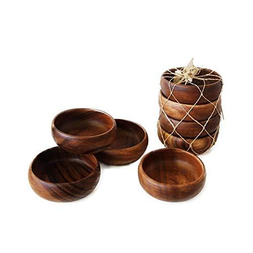 Handgefertigte Teller aus Akazienholz, geschnitzt, Set mit 4 Schalen, Größe 10,2 cm, süße Geschenkidee
