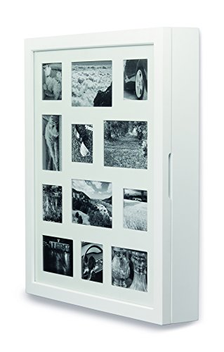 Schmuckschrank, weiß mit Bilderrahmenfront für 12 Bilder aus FSC® zertifiziertem Holz