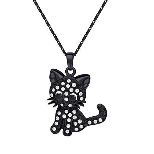 DERFX Joyas Colgantes del Colgante de Gato de Cristal para Las Mujeres Girls Cat Lover Regalos Colllar Hija 20 + 2 Pulgadas Cadena Accesorios (Color : D)