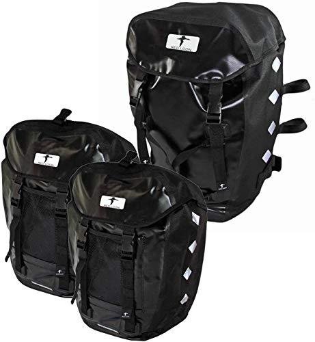Red Loon 3er Set 2 x robuste Fahrradtasche aus LKW-Plane 1 x Fahrrad-Rucksack – wasserdichte Doppelpacktasche + Rucksack in Schwarz