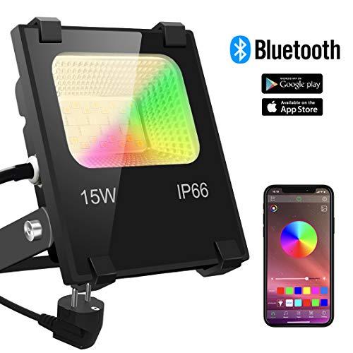 RGB LED Strahler 15W Fluter Außen Strahler Bluetooth APP-Steuerung 16 million Farben und 20 Modi Smart LED Flutlichtstrahler, IP66 Außenstrahler Wasserdicht LED Flutlicht, Garten Stimmungslichter