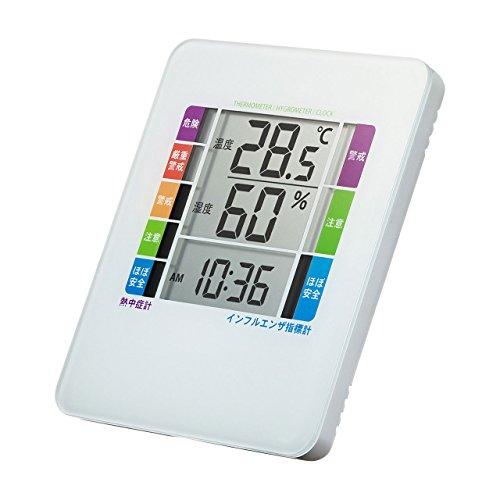 サンワサプライ 熱中症&インフルエンザ表示付きデジタル温湿度計(警告ブザー設定機能付き) CHE-TPHU2WN