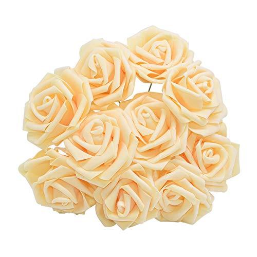 Youpin 20pcs 8cm Artificial Foam Rose-Blumen-Köpfe for Hochzeit Braut Bouquet Party-Geburtstags-Dekoration DIY Zubehör Günstige Blumen Roses (Color : F22 Dk Champagne)