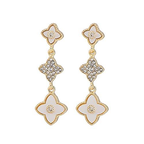 Moda diamante trébol de cuatro hojas circón 925 pendientes de aguja de plata pendientes de temperamento europeo y americano pendientes retro