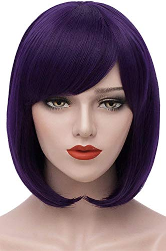 Mersi Purple Wigs for Women Short Bob Hair Wig with Bangs Straight Costume Cosplay Wig Synthetic Fashion Cute Wigs for Mardi Gras Hallowen S009PR