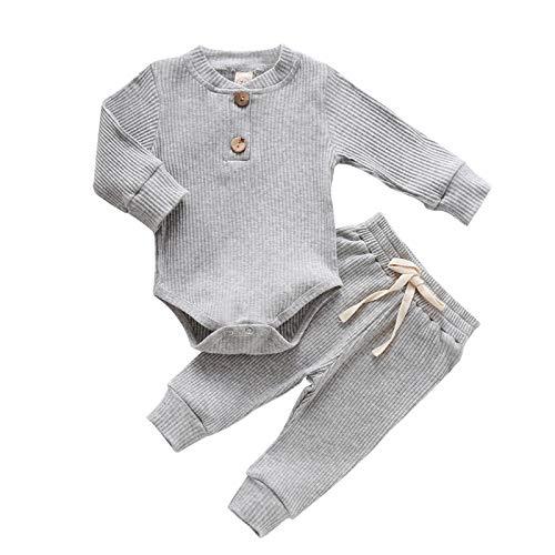 Hanomes Neugeborene Onesies Unisex 2 Stück Baby Kleidung Junge Mädchen Solid Button Bodysuit Strampler Langarm Tops Kordelzug Hosen Strick Outfit (60-100)