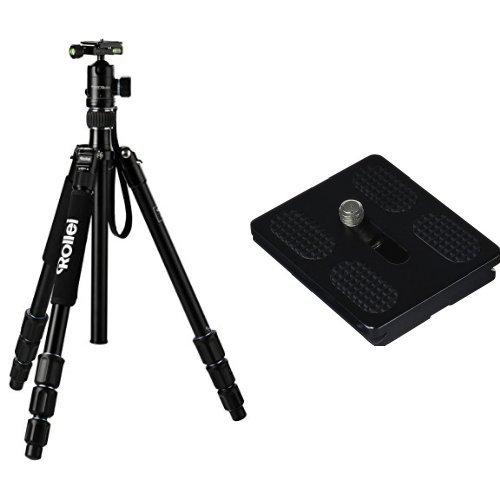 Rollei C5i Stativ + QAL-50 professionelle Schnellwechselplatte (inkl. Kugelkopf, Schnellwechselplatte und Stativtasche, Umbau zum Einbeinstativ möglich - Arca Swiss) schwarz