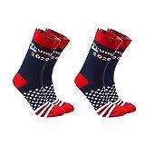 Amosfun 2 Paare Donald Trump 2020 Socken Amerikanische Flagge Socken Stars and Stripes Socken 2020 Präsident Trump Wahl Geschenk für Männer